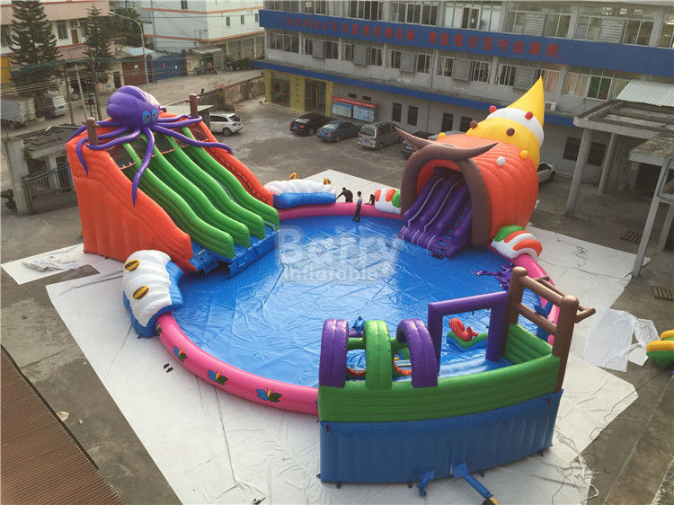 Giant Outdoor Inflatable Water Park , Custom Children Octopus Water Slide